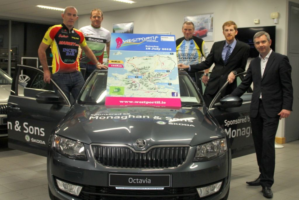 Proudly displaying the new Westportif 2015 routes are (from left:) John Hughes (Western Lakes Cycling Club), Brian Golden (Western Lakes Cycling Club), Anthony Harrison (Covey Wheelers), David Monaghan (Monaghan Skoda) and John Feerick (INM). Photo: Liz King